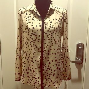 New Zara Cream Polka dot blouse L